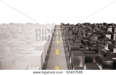 3d rendered, aerial view of two city with main road. white background