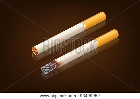 smoking cigarette new and smoked