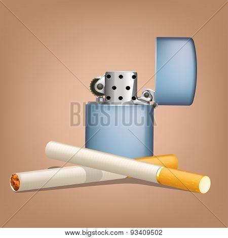 smoking cigarettes with zippo