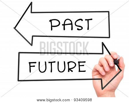 Man Hand writing Past and Future with marker on transparent wipe board.