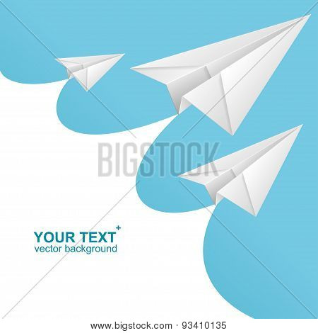 Vector White paper airplane card and text box