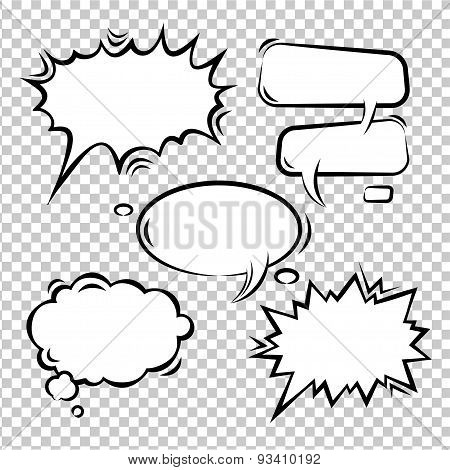 Vector set of comic bubbles empty