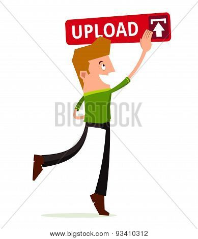 young man press the upload button