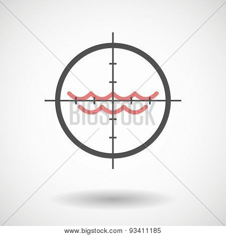 Crosshair Icon Targeting A Water Sign