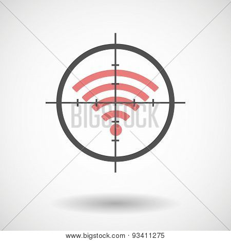 Crosshair Icon Targeting A Radio Signal Sign