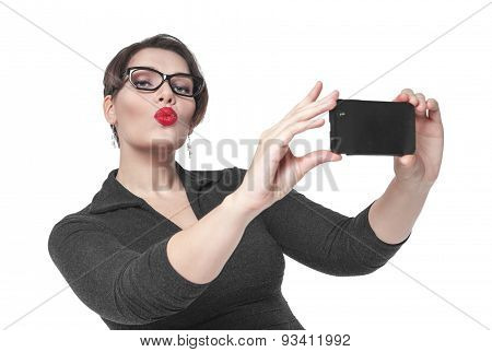 Beautiful Plus Size Woman Making Picture Of Herself Selfie Isolated