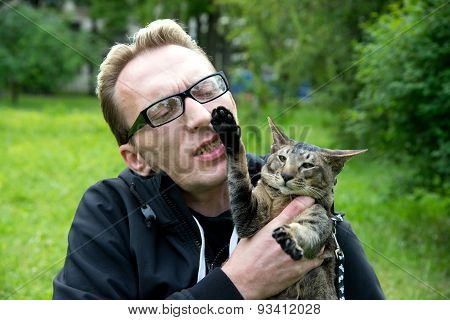 cat bit his master