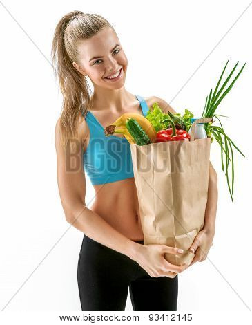 Happy Young Woman With Grocery Bag Full Of Healthy Fruits And Vegetables