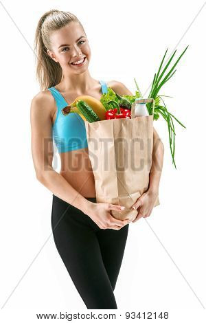 Happy Cutie Athletic Woman With Grocery Bag Full Of Healthy Fruits And Vegetables
