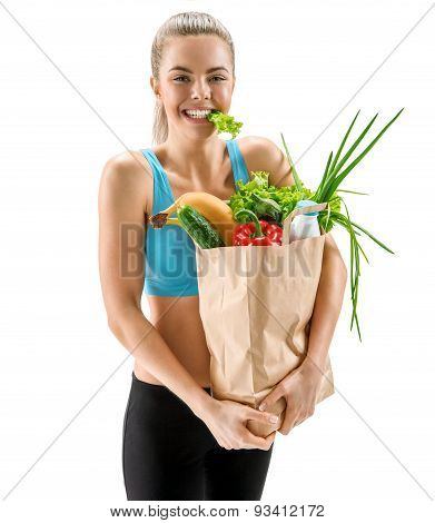 Cute Smiling Woman With Fresh Fruits And Vegetables In Paper Bag, Organic Food