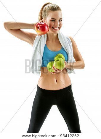 Young Smiling Woman With Red And Green Apples, Sports Trainer, Organic Food, Health And Beauty Care