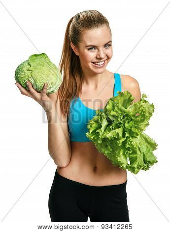 Pretty Smiling Woman With Cabbage And Lettuce, Organic Food, Health And Beauty Care Concept