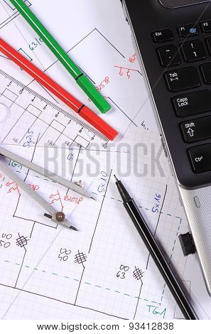 Electrical Diagrams, Accessories For Drawing And Laptop