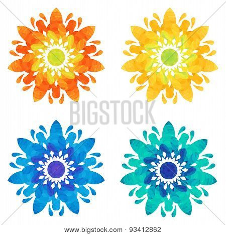 Watercolour pattern - Set of four abstract flowers