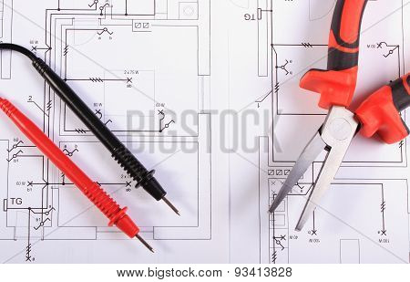 Electrical Diagrams, Cables Of Multimeter And Metal Pliers