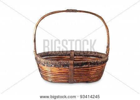Wicker basket isolated on a white background.