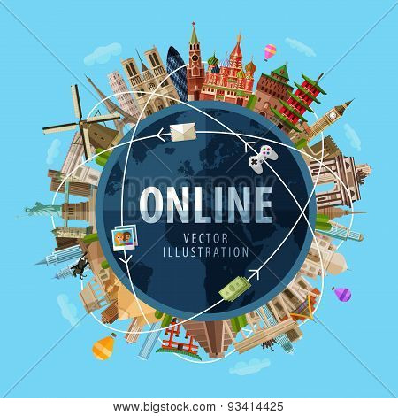 online vector logo design template. Internet or communication icon.