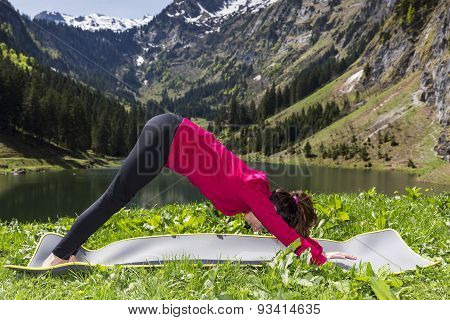 Woman In Downward Facing Dog Pose Outdoors