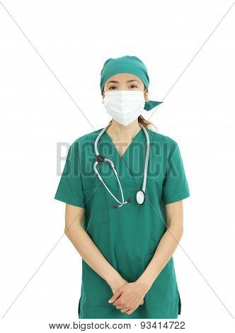 Woman Surgeoan Wearing Surgical Mask