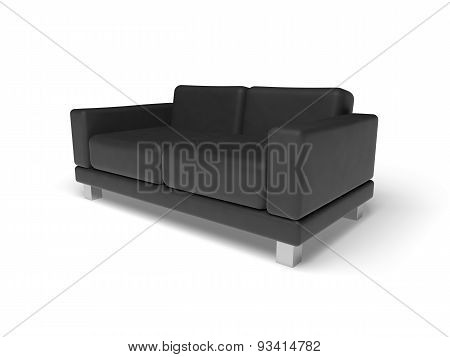 Black Sofa Isolated On White Empty Floor Background