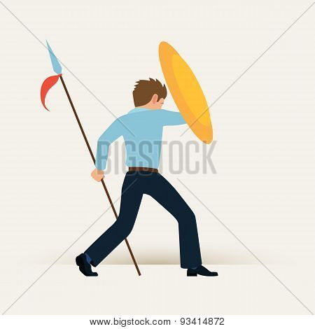 Businessman with the shield and spear