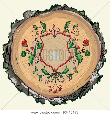 Floral Background With Wood Texture And Ornament