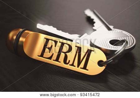 ERM - Bunch of Keys with Text on Golden Keychain.