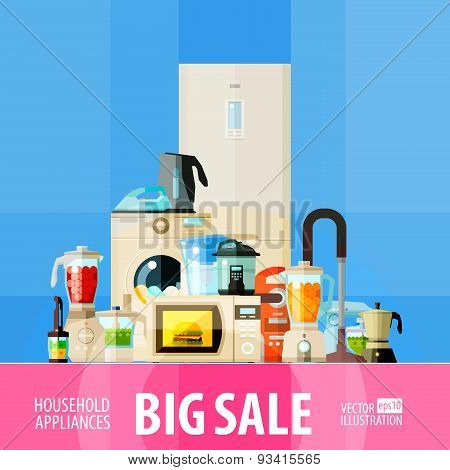 big sale. set of elements - refrigerator, washing machine, vacuum cleaner, food processor, mixer, bl
