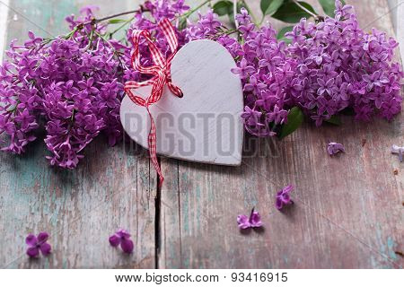 Postcard With Decorative Heart And Lilac Flowers