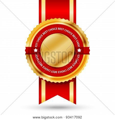 Premium golden and red Best Seller label with -Best choice- text around it. Isolated on white backgr