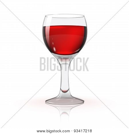 Blank transparent photo realistic isolated on white wine glass with red wine, for branding and your