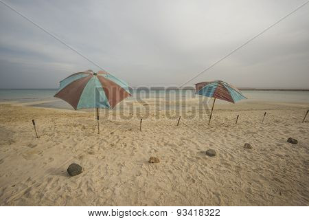 Umbrellas On A Tropical Beach With Stormy Sky