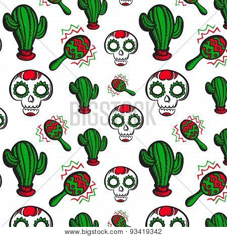 Background With Calaveras, Cactuses And Maracas