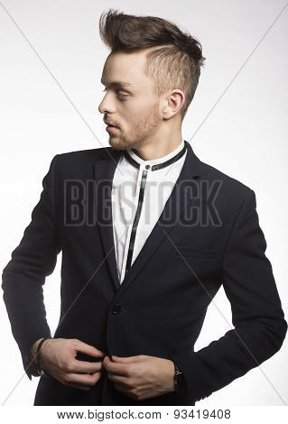 Fashion Male Model In Black Suit