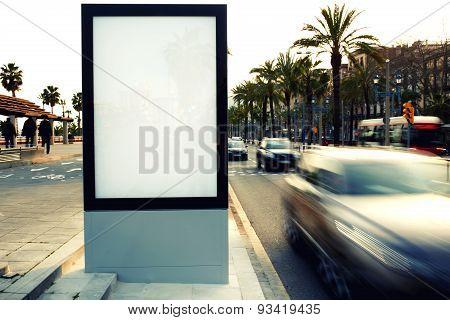 Blank billboard outdoors outdoor advertising public information board on city road