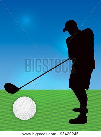 Silhouetted Man Golfing Illustration