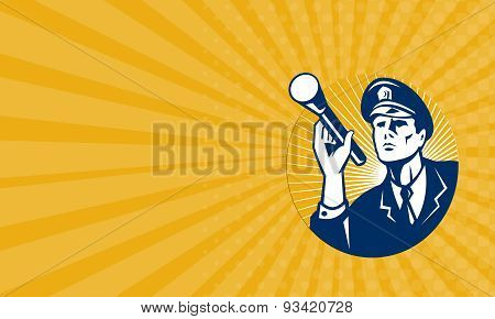 Business Card Policeman Security Guard With Flashlight Retro