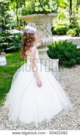 Little Girl With Perfect Hairstyle In Princess Dress