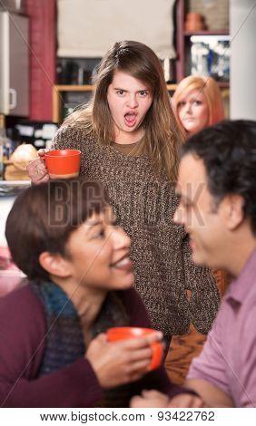 Shocked Woman Watching Couple