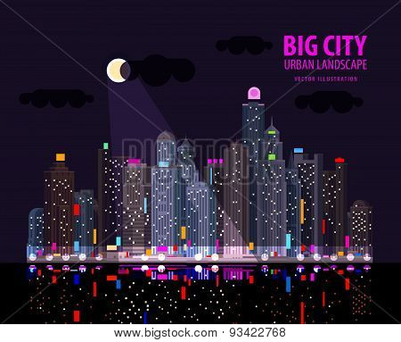 Night in the big city. Illuminated signs in the night city by the sea. Vector illustration