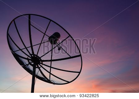 Satellite Dish At Sky Sunset Communication Technology Network