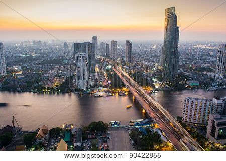 Chao Praya River near Taksin bridge, Bangkok Thailand.