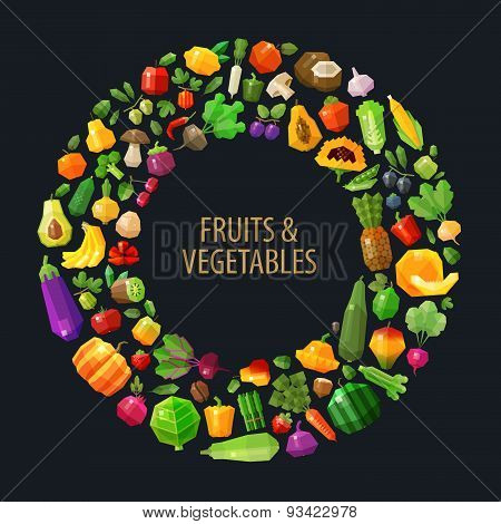 fresh fruits and vegetables in the circle vector logo design template. food, farm or gardening, hort