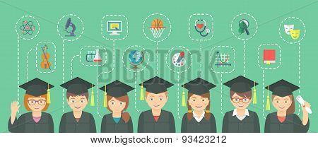 Flat Style Kids Graduation Concept With School Icons