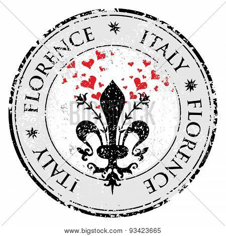 Love Heart To The Fleur De Lis Of Florence, Travel Destination Grunge Rubber Stamp With Symbol Of Fl