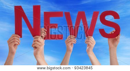 Hands Holding Red Straight Word News Blue Sky