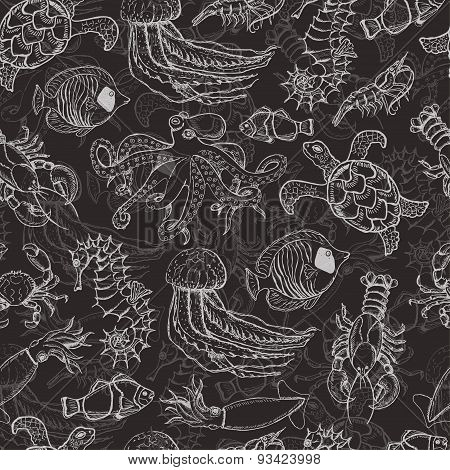 Seamless pattern with sea inhabitants on a dark background