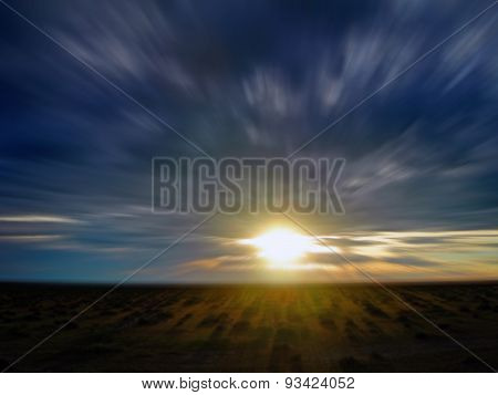 Motion blurred sunset
