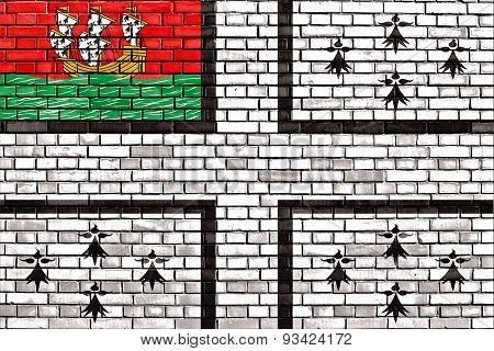 Flag Of Nantes Painted On Brick Wall