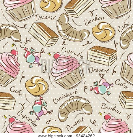 Background With Cupcake, Croissan, Cake And Bonbon